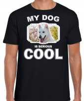 Witte herder honden my dog is serious cool zwart heren t shirt