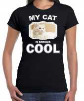 Witte kat katten poezen my cat is serious cool zwart dames t shirt