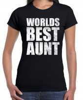 Worlds best aunt tante cadeau zwart dames t-shirt