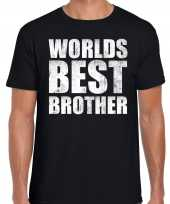 Worlds best brother cadeau zwart heren t-shirt