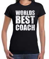 Worlds best coach werelds beste coach cadeau zwart dames t-shirt