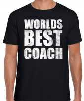 Worlds best coach werelds beste coach cadeau zwart heren t-shirt