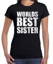 Worlds best sister cadeau zwart dames t-shirt