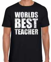 Worlds best teacher werelds beste leraar cadeau zwart heren t-shirt