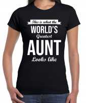 Worlds greatest aunt tante cadeau zwart dames t-shirt