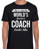 Worlds greatest coach cadeau zwart heren t-shirt