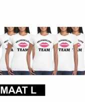 X vrijgezellenfeest team wit dames maat l t-shirt