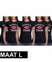 X vrijgezellenfeest team zwart dames maat l t-shirt