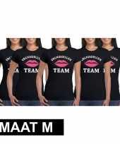 X vrijgezellenfeest team zwart dames maat m t-shirt