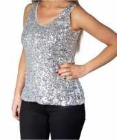 Zilveren glitter pailletten disco topje mouwloos dames t-shirt