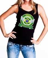 Zwart brazil drinking team tanktop mouwloos dames t-shirt