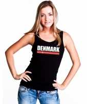 Zwart denemarken supporter single tanktop dames t-shirt