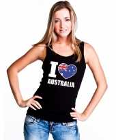 Zwart i love australie fan single tanktop dames t-shirt