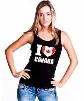 Zwart i love canada fan single tanktop dames t-shirt