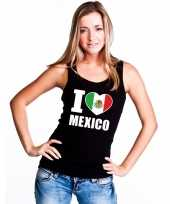 Zwart i love mexico fan single tanktop dames t-shirt