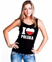 Zwart i love polen fan single tanktop dames t-shirt