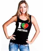 Zwart i love portugal fan single tanktop dames t-shirt