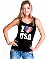 Zwart i love usa amerika fan single tanktop dames t-shirt