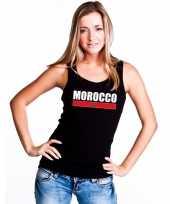Zwart marokko supporter single tanktop dames t-shirt