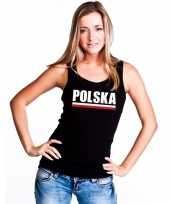 Zwart polen supporter single tanktop dames t-shirt