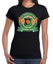 Zwart st patricks day drinking team dames t-shirt