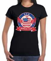 Zwart usa drinking team dames t-shirt