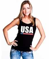 Zwart usa supporter single tanktop dames t-shirt