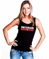 Zwart zwitserland supporter single tanktop dames t-shirt