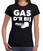 Zwarte cross gas der bij festival zwart dames t-shirt
