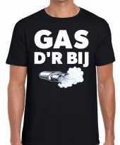 Zwarte cross gas der bij festival zwart heren t-shirt