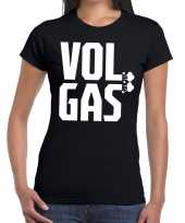 Zwarte cross vol gas festival zwart dames t-shirt