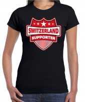 Zwitserland switzerland schild supporter zwart dames t shirt